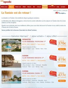 La newsletter d'Opodo - La Tunisie est de retour